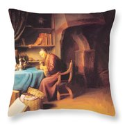 An Old Man Lighting His Pipe In A Study Throw Pillow