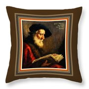 An Old Man Reading P A With Decorative Ornate Printed Frame Throw Pillow