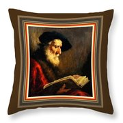 An Old Man Reading P B With Decorative Ornate Printed Frame. Throw Pillow