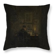 An Old Man Writing By Candlelight Throw Pillow