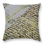 An Old Manuscript Throw Pillow
