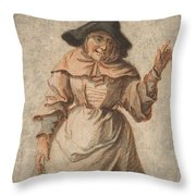 An Old Market Woman Grinning And Gesturing With Her Left Hand Throw Pillow