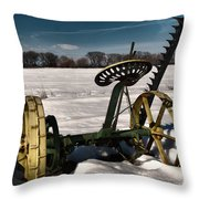 An Old Mower In The Snow Throw Pillow