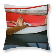 An Old Sailboat Tied To The Dock Throw Pillow