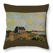 An Old Scottish Cottage Overlooking A Loch  L A S Throw Pillow