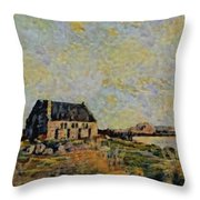 An Old Scottish Cottage Overlooking A Loch  L B Throw Pillow