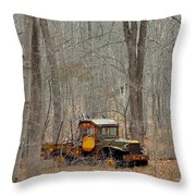 An Old Truck In The Woods. Throw Pillow