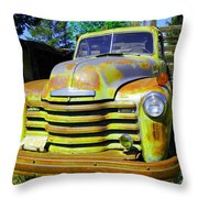 An Old Truck On The Farm Throw Pillow