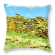 An Old Wall At The Pecos Ruins Throw Pillow