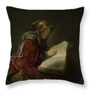 An Old Woman Reading - Prophetess Hannah Throw Pillow