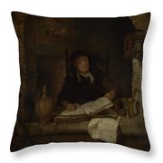 An Old Woman With A Book Throw Pillow