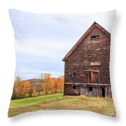 An Old Wooden Barn In Vermont. Throw Pillow