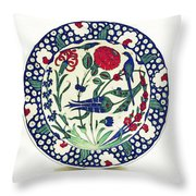 An Ottoman Iznik Style Floral Design Pottery Polychrome, By Adam Asar, No 1a Throw Pillow