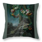 An Outdoor Scene With A Spring Flowing Into A Pool Throw Pillow