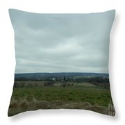 An Outlook Over Amish Farmland Throw Pillow