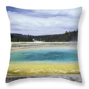 An Upper Geyser Basin At Chromatic Throw Pillow
