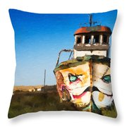 An Wooden Old Ship 1 Throw Pillow