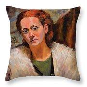 Ana In A Fur Coat Throw Pillow