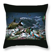 Anaglyph Whales Throw Pillow