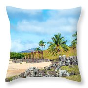 Anakena At Easter Island Throw Pillow