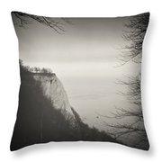 Analog Black And White Photography - Rugen Island - Koenigsstuhl Chalk Cliff Throw Pillow
