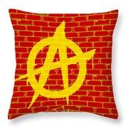 Anarchy Graffiti Red Brick Wall Throw Pillow