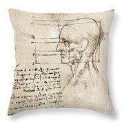 Anatomical Drawing By Leonardo Da Vinci Throw Pillow