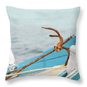 Anchor On A Boat In Maldives Throw Pillow