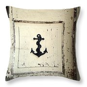 Anchor On Old Door Throw Pillow