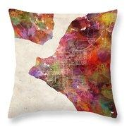Anchorage Map Alaska Throw Pillow