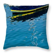 Anchored Boat II Throw Pillow
