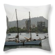 Anchored Sailboat Throw Pillow
