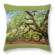 Ancient Angel Oak Tree  Throw Pillow