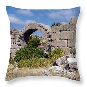 Ancient Bergama Acropolis Ruins Throw Pillow