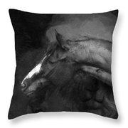 Ancient Black Horse No 1 Throw Pillow