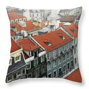 Ancient Buildings At Lisbon. Portugal Throw Pillow