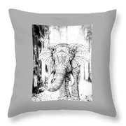 Ancient Elephant Throw Pillow