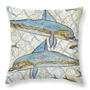 Ancient Greek Dolphins Throw Pillow