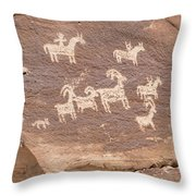 Ancient Hieroglyphics In Arches National Park Throw Pillow