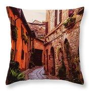 Ancient Italian Village Throw Pillow