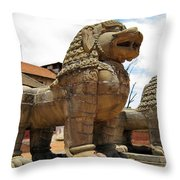 Ancient Lions In Nepal Throw Pillow
