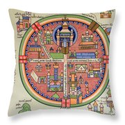 Ancient Map Of Jerusalem And Palestine Throw Pillow
