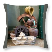 Model Of Ancient Water Mill In Greece  Throw Pillow