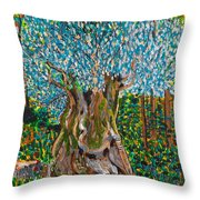 Ancient Olive Tree Throw Pillow