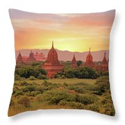 Ancient Pagodas In The Countryside From Bagan In Myanmar At Suns Throw Pillow