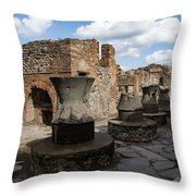 Ancient Pompeii - Bakery Of Modestus Millstones And Bread Oven Throw Pillow