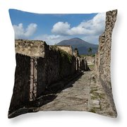 Ancient Pompeii - Empty Street And Mount Vesuvius Volcano That Caused It All Throw Pillow