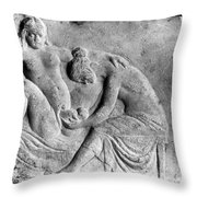Ancient Roman Relief Carving Of Midwife Throw Pillow