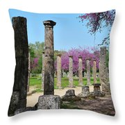 Ancient Ruins Tree By Columns Throw Pillow