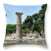 Ancient Ruins Wide Columns Throw Pillow